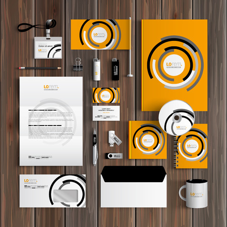 Orange corporate identity template design with black and white round elements. Business stationery