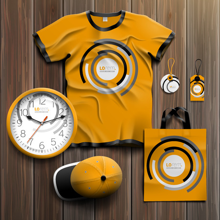 souvenirs: Orange promotional souvenirs design for corporate identity with black and white round elements. Stationery set
