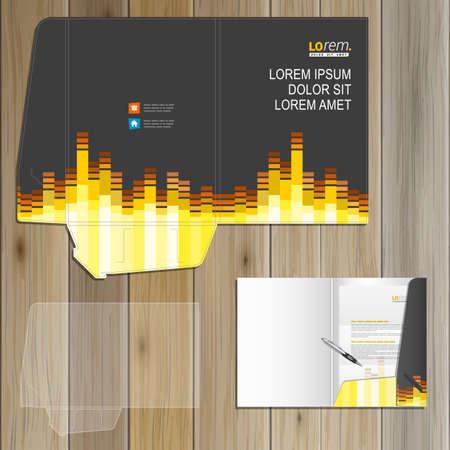papeleria: Diseño de la plantilla de carpeta musical Negro de la identidad corporativa con ecualizador de audio. Conjunto del papel