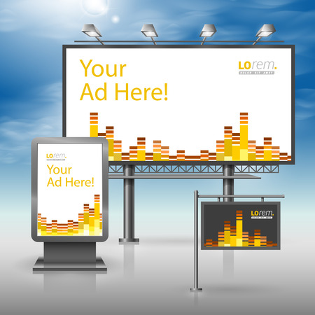 Black musical outdoor advertising design for corporate identity with audio equalizer. Stationery set Stock Illustratie