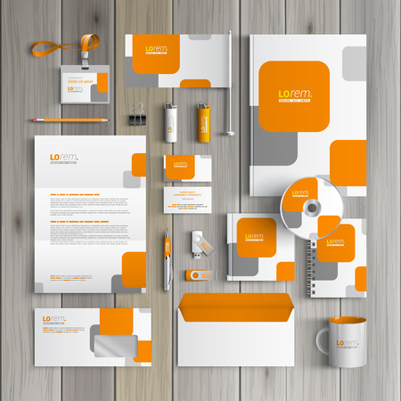 White corporate identity template design with orange and gray square shapes. Business stationery