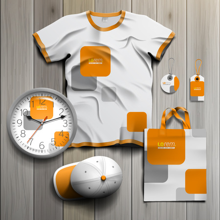 souvenirs: White promotional souvenirs design for corporate identity with orange and gray square shapes. Stationery set Illustration