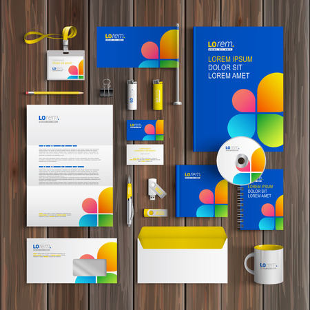 corporate identity template: Blue corporate identity template design with color shapes in the form of flower. Business stationery