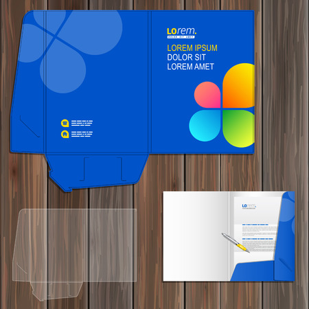 folder: Blue folder template design for corporate identity with color shapes in the form of flower. Stationery set