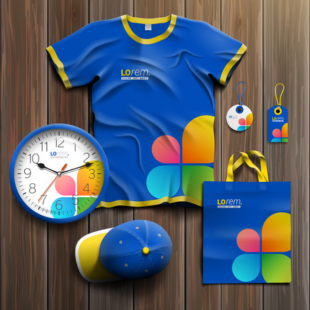 business shirts: Blue promotional souvenirs design for corporate identity with color shapes in the form of flower. Stationery set