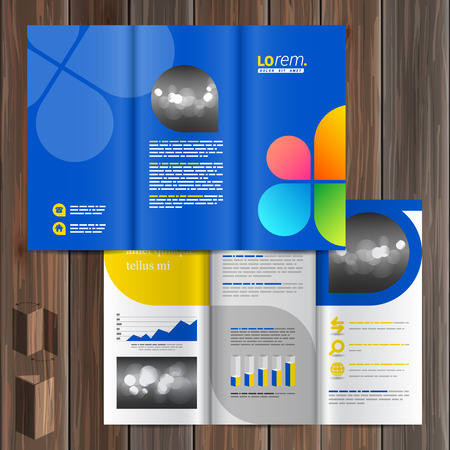 catalog templates: Blue brochure template design with color shapes in the form of flower. Cover layout Illustration