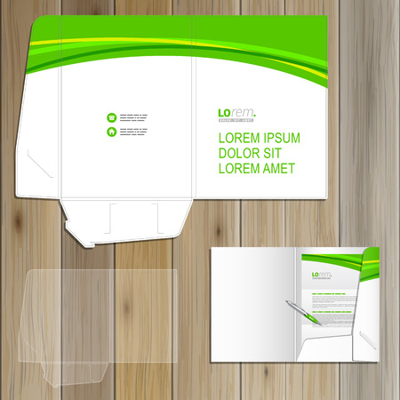 folder: Classic white folder template design for corporate identity with green wave. Stationery set Illustration