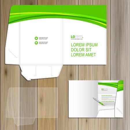 carpetas: Diseño de la plantilla de carpeta blanca clásica por la identidad corporativa con la onda verde. Conjunto del papel