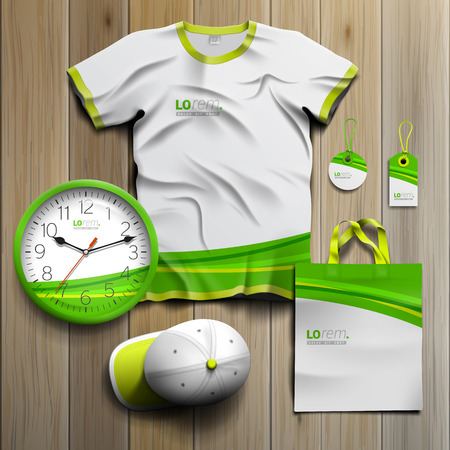 souvenirs: Classic white promotional souvenirs design for corporate identity with green wave. Stationery set Illustration