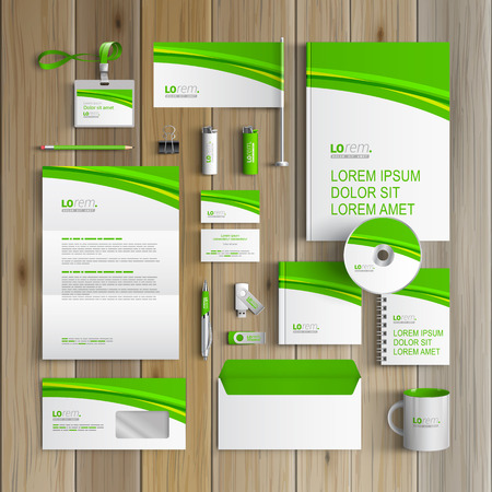 stationery: Classic white corporate identity template design with green wave. Business stationery