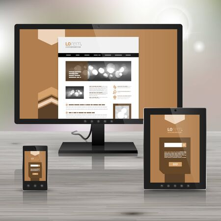 site backgrounds: Brown application template design for corporate identity with arrows in the center. Stationery set