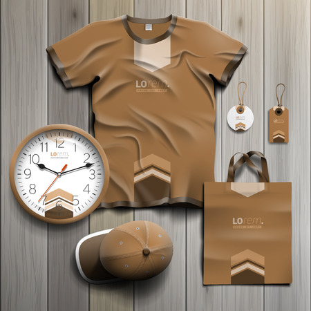 souvenirs: Brown promotional souvenirs design for corporate identity with arrows in the center. Stationery set