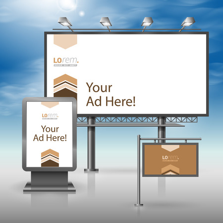 outdoor advertising: Brown outdoor advertising design for corporate identity with arrows in the center. Stationery set