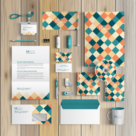 id card: Vintage corporate identity template design with color squared pattern. Business stationery