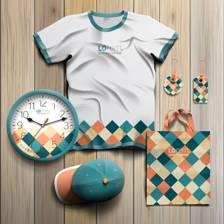souvenirs: Vintage promotional souvenirs design for corporate identity with color squared pattern. Stationery set