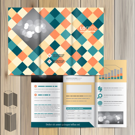 squared: Vintage brochure template design with color squared pattern. Cover layout