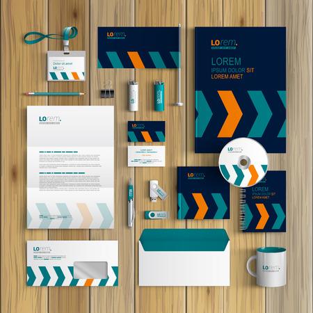 Blue corporate identity template design with arrows. Business stationery Illusztráció