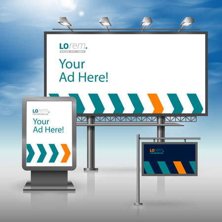 publicity: Blue outdoor advertising design for corporate identity with arrows. Stationery set