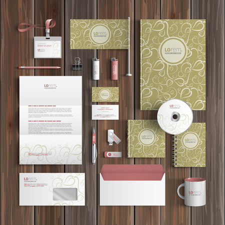 corporate identity template: Vintage corporate identity template design with floral pattern. Business stationery