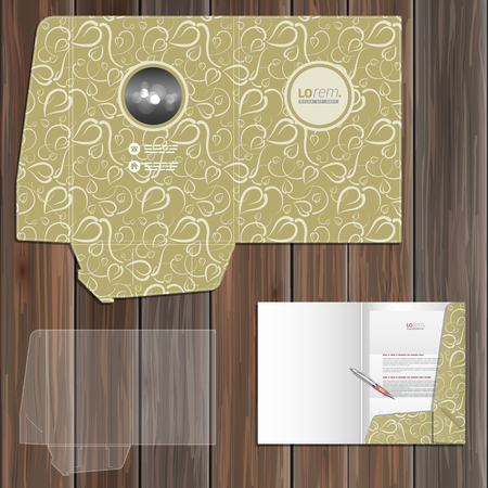 adverts: Vintage folder template design for corporate identity with floral pattern. Stationery set Illustration