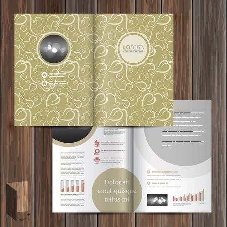 layout design template: Vintage brochure template design with floral pattern. Cover layout