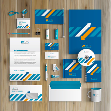 Blue corporate identity template design with white and orange arrows. Business stationery Illustration