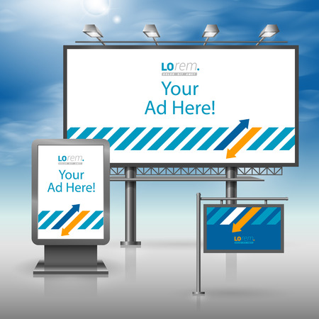 outdoor advertising: Blue outdoor advertising design for corporate identity with white and orange arrows. Stationery set