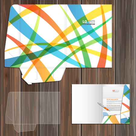 corporate identity template: Creative folder template design for corporate identity with color art elements. Stationery set