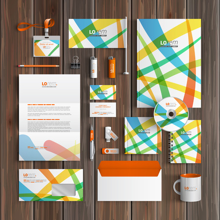 Creative corporate identity template design with color art elements. Business stationery Ilustrace