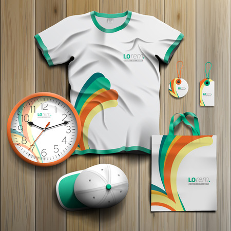 White promotional souvenirs design for corporate identity with green and orange shapes. Stationery set