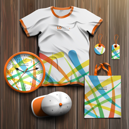 souvenirs: Creative promotional souvenirs design for corporate identity with color art elements. Stationery set