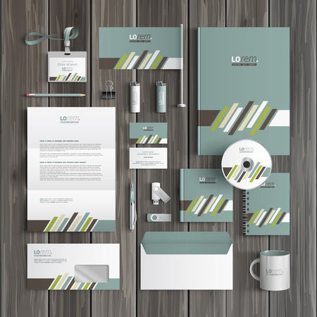 Classic corporate identity template design with brown and green diagonal elements. Business stationery Ilustrace