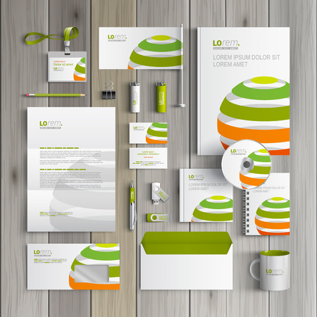 stationary: White corporate identity template design with color striped globe. Business stationery