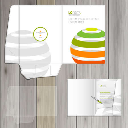 corporate identity template: White folder template design for corporate identity with color striped globe. Stationery set