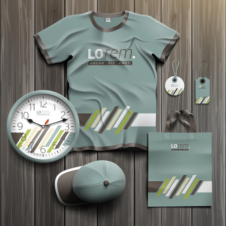 souvenirs: Classic promotional souvenirs design for corporate identity with brown and green diagonal elements. Stationery set
