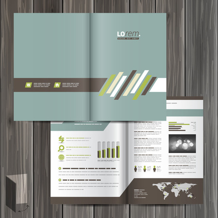 leaflet: Classic brochure template design with brown and green diagonal elements. Cover layout