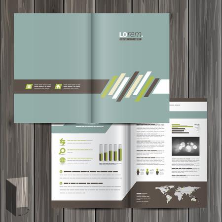 folder: Diseño del modelo del folleto clásico con elementos de la diagonal de color marrón y verde. Diseño de la cubierta
