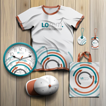 souvenirs: White promotional souvenirs design for corporate identity with pattern of circular arrows. Stationery set