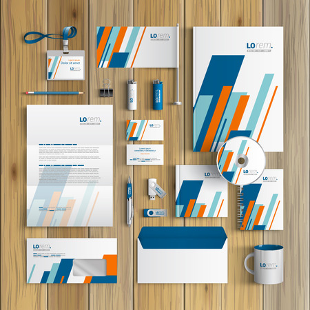 identities: White corporate identity template design with blue and orange diagonal shapes. Business stationery