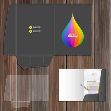 color drop: Black folder template design for corporate identity with color drop. Stationery set Illustration