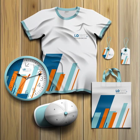souvenirs: White promotional souvenirs design for corporate identity with blue and orange diagonal shapes. Stationery set