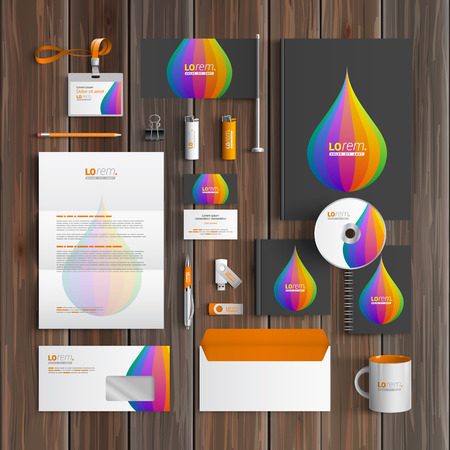 color drop: Black corporate identity template design with color drop. Business stationery
