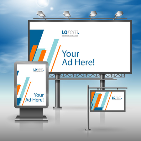 company board: White outdoor advertising design for corporate identity with blue and orange diagonal shapes. Stationery set