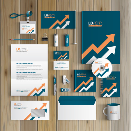 corporate identity template: Blue corporate identity template design with two arrows. Business stationery Illustration