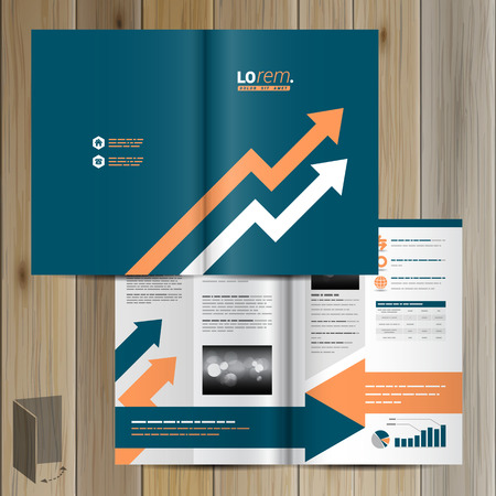two arrows: Blue brochure template design with two arrows. Cover layout Illustration