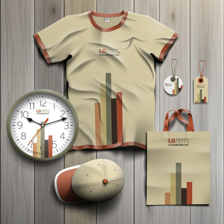 souvenirs: Finance promotional souvenirs design for corporate identity with color infographic. Stationery set