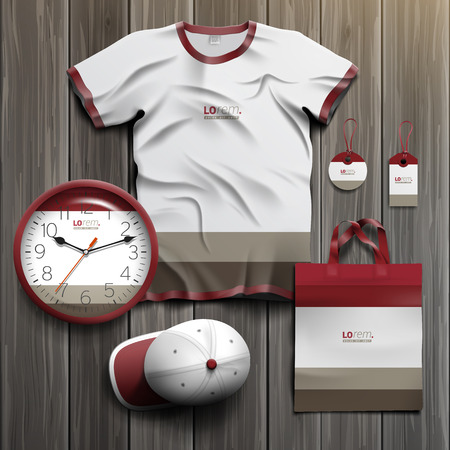 souvenirs: Classic promotional souvenirs design for corporate identity with red and gray shapes. Stationery set