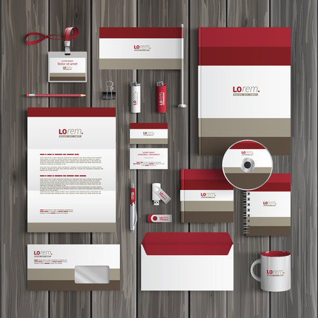 stationary set: Classic corporate identity template design with red and gray shapes. Business stationery
