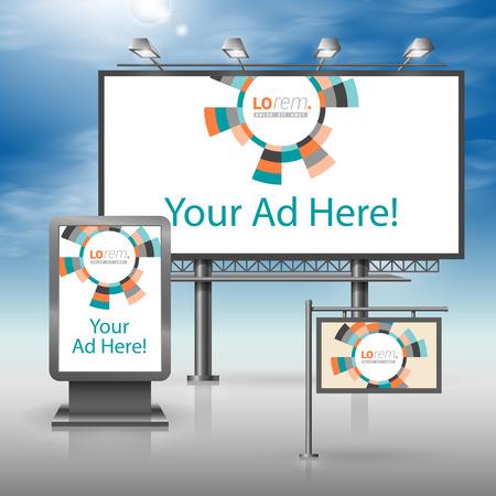 Kleur outdoor reclame-ontwerp voor de corporate identity met ronde geometrische elementen. Briefpapier set