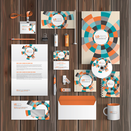 corporate identity template: Color corporate identity template design with round geometric elements. Business stationery